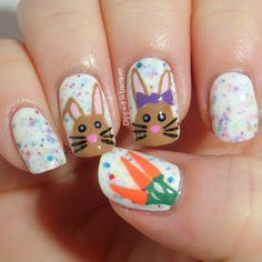 Eingetaucht in Lack: Ostern Nail Art Challenge Tag 2 - Hasen - Easter Nail Designs, Easter Nail Art, Nail Polish Designs, Cute Nail Designs, Fingernail Designs, Cute Nails, Pretty Nails, My Nails, Fancy Nails