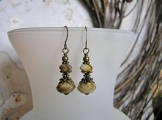 Honey and Cream Faceted Glass Drop Earrings with by SmockandStone, $13.00