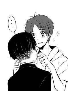 """""""...brat...what are you doing?"""" """"hehe, sorry heichou! it was a dare from the squad...""""   Levi and Eren   SNK"""