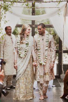 Dying over this beautiful white bridal sari! Shot by Christina Szczupak via Style Me Pretty