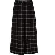 Tibi Salome Plaid Edie Culottes (£335) ❤ liked on Polyvore featuring black and tibi