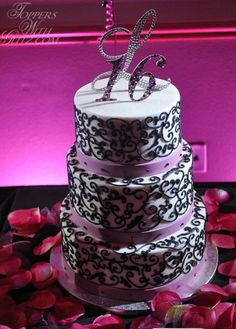 16th Birthday Cake Topper (Toppers With Glitz). Use different color for letter and numbers to make them pop more!