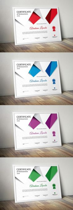 Fully Layered & editable - inches) + Bleed Area - 3 Vector EPS files - CMYK Colors - 300 DPI resolution - Print Ready Format - Free fonts used Certificate Of Merit, Certificate Of Achievement Template, Certificate Design, Certificate Templates, Wedding Fonts, Stationery Templates, Locker, Key, Unique Key