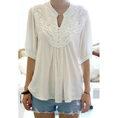 Grace Lace Splicing Crochet Flower 1/2 Sleeve Women's Blouse, WHITE, ONE SIZE in Blouses | DressLily.com