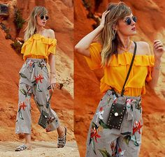 Get this look: http://lb.nu/look/8736543  More looks by Vicky W: http://lb.nu/vickywanka  Items in this look:  H&M Yellow Neckholder Shirt, H&M Green Mini Bag, H&M Culottes, Asos Shoes   #bohemian #casual #retro