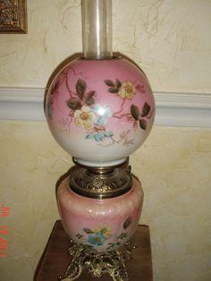ANTIQUE VICTORIAN OIL LAMP GWTW DOGWOOD FLOWERS   eBay