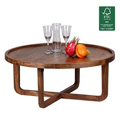 FineBuy Couchtisch Massiv Holz Sheesham Rund 85 Cm Wohnzimmer Tisch Design Dunkel Braun