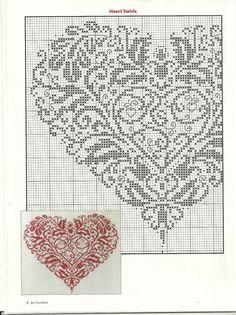 Heart swirls punto croce part Just Cross Stitch, Cross Stitch Needles, Cross Stitch Heart, Counted Cross Stitch Patterns, Cross Stitch Designs, Cross Stitch Embroidery, Embroidery Patterns, Heart Patterns, Cross Stitching