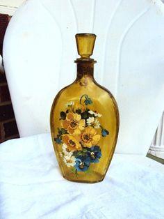 Vintage Glass Jar Bottle Liquor Decanter by primitivepincushion, $28.99