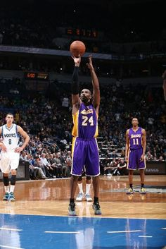 With this foul shot, the Los Angeles Lakers Kobe Bryant makes history as he passes Michael Jordan for 3rd place on the NBA's all-time scoring list.  He now only trails Karl Malone and Kareem Abdul-Jabbar. (December 14, 2014 | Los Angeles Lakers @ Minnesota Timberwolves | Target Center in Minneapolis, Minnesota)