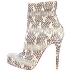 Pre-Owned Christian Louboutin Python Ankle Boots ($625) ❤ liked on Polyvore featuring shoes, boots, ankle booties, christian louboutin, booties, pointed toe booties, grey bootie, grey booties, grey ankle booties and ankle boots