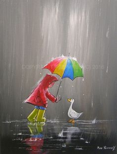 PETE RUMNEY FINE ART BUY ORIGINAL ACRYLIC OIL PAINTING COLOURFUL BROLLY DUCK FUN in Art, Direct from the Artist, Paintings | eBay