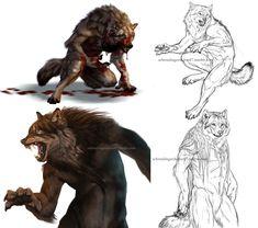 Werewolf sketch and speedpaint dump by Atan.deviantart.com on @DeviantArt