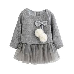 Ropa bebé Amlaiworld Recién Bebé Niñas Manga larga Tutú princesa vestido (18-24 Mes, Gris)