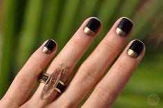 Negro y dorado. Diseño fácil para uñas.