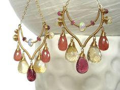 Luxury Wire Wrapped Earrings; Art Deco Style; OOAK; Gemstone Dangle Earrings; Adorno; 14k Gold Wire Wrap Jewelry; Briolette; Dramatic