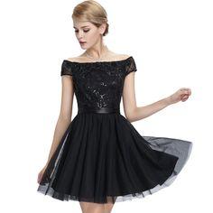Sexy-Off-Shoulder-Short-Black-Evening-Dress- Robe-De-Soiree-Courte-Elegant-2016-Cap-Sleeve-Sequin-Dinner Party Dress Evning Gown UK1723