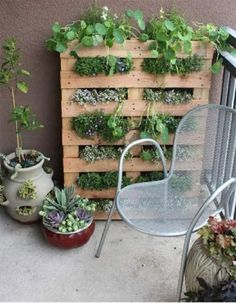 Old Pallet planter; great for herbs. Could be painted to match furniture on patio or garden. I want an HERB GARDEN!