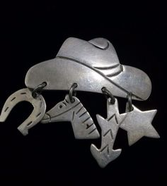 Sterling Silver Pin of Cowboy Hat with 4 Dangles / Charms - Mexican    eBay