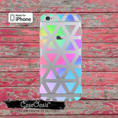 Pastel Triangle Pattern 80s Style Cute Clear Rubber Phone Case For iPhone 6 and iPhone 6 Plus and iPhone 5/5s and iPhone 5c Transparent Case