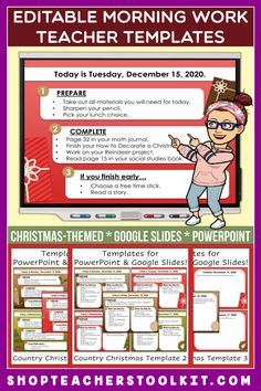 These country Christmas-themed Editable PowerPoint and Google Slides Teacher Templates include space to type the day and date, reminders of what to do when entering the classroom, as well as 'must do' and 'may do' assignments. Remind your students of their morning assignments during arrival time by displaying them on your whiteboard or SMARTBoard. #teachertemplates #morningarrivalinstructions #editable #powerpoint #googleslides #christmas