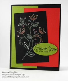 Stampin' Up! Flourishing Phrases Black Magic With a Twist card created by Dawn Olchefske for DOstamperSTARS Thursday Challenge Free Cards, Card Tricks, Magic Cards, Chalk Markers, Colouring Techniques, Fall Flowers, Color Card, Stamping Up, Black Magic