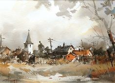 Watercolour-Acuarela-Corneliu-Dragan-Targoviste-peisaj-rural-23