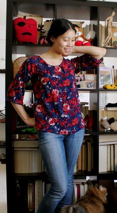 Raglan Sleeve Swing Top pattern by Cation Designs, FREE download from burda style