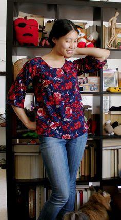 Raglan Sleeve Swing Top pattern by Cation Designs, FREE download from burda style