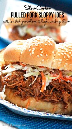 Sweet and tangy, barbecue-like sauce smothering tender pork topped with light coleslaw and provolone cheese. As easy as toss in crockpot, then eat! No browning onions or meat! Perfect for crowds, busy days, leftovers or to freeze!