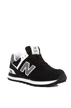 New Balance Woven 574 Sneakers in Black White Grey | Womens Shoes | AKIRA