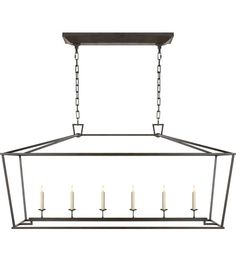 """Visual Comfort E.F. Chapman Darlana 6 Light Linear Pendant in Aged Iron with Wax CHC2166AI   Height: 25 1/2"""" Width: 54"""" Extension: 17"""" Canopy: 6"""" x 26 1/2"""""""