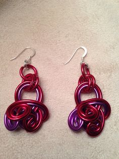 Red and Purple Wire Wrapped Earrings by Jewelrywithme on Etsy