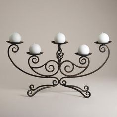 Scroll Centerpiece Candleholder - traditional - candles and candle holders - World Market Wrought Iron Candle Holders, Wrought Iron Decor, Iron Furniture, Iron Art, Paint Colors For Living Room, Candle Stand, Candle Lanterns, Candlesticks, Ornaments