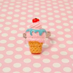 Sweet Lolita Ring Kawaii Pink Strawberry Ice by blacktulipshop, $4.00