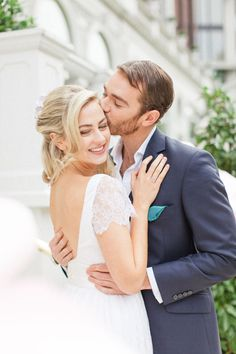 wedding at the mandarin oriental hotel in london with a gorgeous bride and groom cuddling and kissing