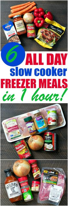 Stock your kitchen with 6 All Day Slow Cooker Freezer Meals in just 1 hour! These simple prep-ahead recipes are an easy way to serve homemade dinners!