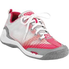Breathable, comfortable and lightweight, the SeaRacer GripX3 is perfect for sailing. This shoe gives you great grip, has plenty of hydrophobic meshes and linings, and includes vents and quick dry material. The Aegis odor reduction treatment will help to keep you and your boat mates happier on and off the boat.Info:Color: White/RaspberrySize: 6; 10, Women insConstruction: Hydrophobic mesh and lining, EVA removable anti-microbial footbed, non-marking Hydro-Grip rubber sole for…