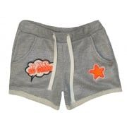 Girls Grey Shimmer Shorts With Stitched On Motifs