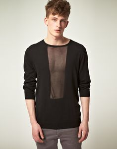 Asos Black- Cotton Sweater with Sheer Panel. Love! WHat a funky detail, adding a shirt underneath would add endless variation!