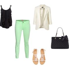 cute spring outfit.. mint skinnies