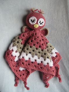 Crochet Owl Security  Blanket Lovey Pink or Brown by NeedleKrazy, $38.00    i want this pattern!!!