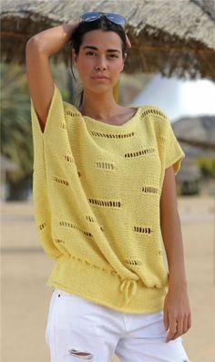 Летний пуловер с ажурными полосками