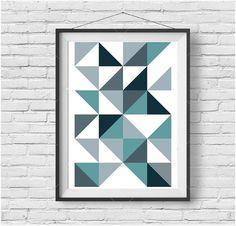 Triangle Print, Blue Print, Blue Wall Art, Blue Poster, Scandinavian Art, Geometric Print, Geometric Poster, Printable Art, Modern Print