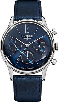 Men's Wrist Watches - ELYSEE Mens 38013 ClassicEdition Analog Display Quartz Blue Watch -- For more information, visit image link.