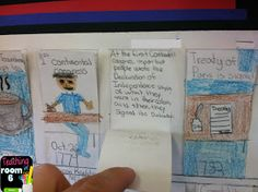 """A """"foldable"""" timeline.  You can see that the kids wrote the information behind the flaps instead of right on the front."""