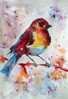 Little Painting - Little Robin by Kovacs Anna Brigitta