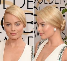 Margot Robbie's Sleek Bun & Glowing Skin At The Golden Globes