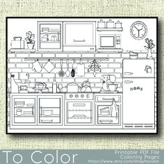 The best collection of articles about 10 Best Coloring Pages for Adults Kitchen. Coloring Pages For Grown Ups, Easy Coloring Pages, Online Coloring Pages, Free Printable Coloring Pages, Coloring Sheets, Coloring Books, Interior Design Sketches, Art Journal Techniques, Up Book