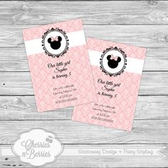 Vintage Minnie Mouse Printable Invitation by CherriesBerries, $12.00 @Jess Liu Read  I know you've probably seen all these!
